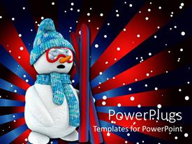Colorful presentation design having a snowman with red and blue lines in the background