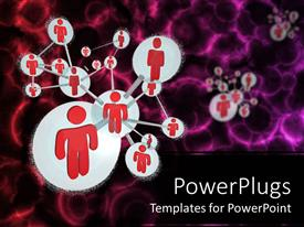 PPT layouts consisting of social networking model with red people connected to form a molecule