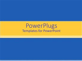 PPT theme with solid blue background with yellow banner and gradient stripes