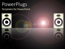 PPT theme consisting of sound system with two large disco speakers with light circles on black background