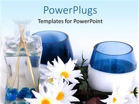 Elegant presentation enhanced with spa depiction with flowers and spa oil in bottle