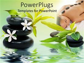 Elegant slides enhanced with spa theme with black relaxing spa stones white flowers and green bamboo leaves, woman laying on a soft spa bed with stones on her back