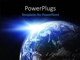 PPT theme consisting of space view of the sun shining on the planet earth