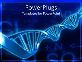 Amazing PPT layouts consisting of spiral molecular blue DNA strand on blue background with calculations
