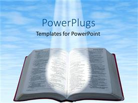 Audience pleasing slides featuring spotlight glowing on open Bible with blue cloudy sky