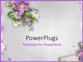 Slides enhanced with spring flowers on textured background