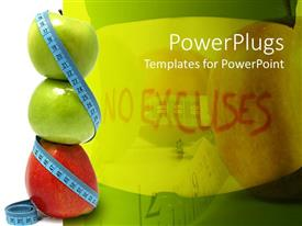 Amazing PPT theme consisting of stack of apples wrapped with measuring tape, no excuses
