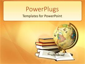 PPT theme consisting of stack of books beside an earth globe and a pair of glasses