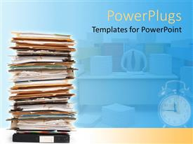 Elegant presentation enhanced with stack of documents and files in folders pile with alarm clock and teacher at desk