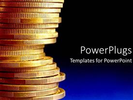 Presentation theme having stack of gold coins over blue background