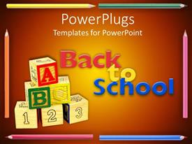 Presentation design having stack of learning blocks with color pencils and a Back To School text