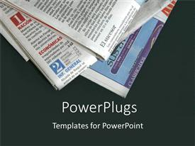 Elegant PPT layouts enhanced with stack of newspapers on black background