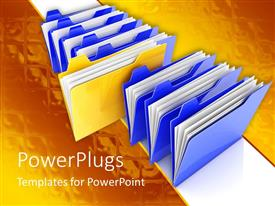 PPT theme with stack of seven blue files with a yellow file in the middle