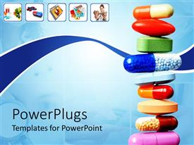 PPT layouts featuring stack of various pills and capsules on light blue with white background and small icons depicting pills and capsules