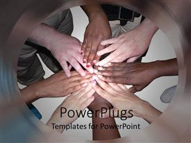 Audience pleasing PPT layouts featuring stacked hands of people of various ethnicities and colors showing cooperation, unity, teamwork