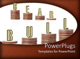 Slides with stacks of coins with the text Bear Bull on a white background