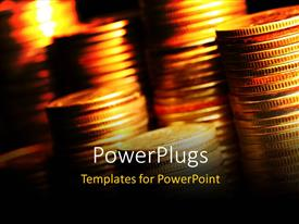 Elegant presentation theme enhanced with stacks of coins under golden light