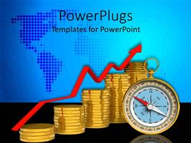 Elegant presentation enhanced with stacks of gold coins and a compass on a blue map background