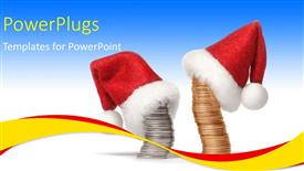 PPT theme with stacks of gold and sliver coins wearing a Christmas cap