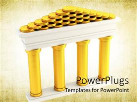 Presentation featuring stacks of golden coins forming the symbol of bank on old paper background