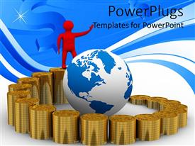 Beautiful PPT theme with stacks of golden coins with a red character and an earth globe