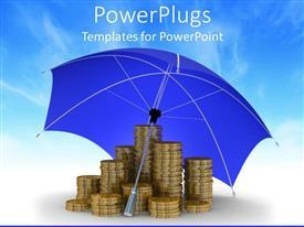 Colorful presentation having stacks of golden coins under a blue opened umbrella