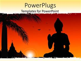 PPT theme with statue of buddha with sun set, birds flying,palm tree and temple in the background