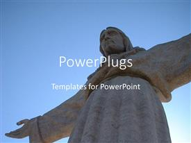 PPT layouts featuring the statue of Jesus with clear sky