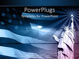 PPT theme with statue of liberty with american flag and sunset on blue background