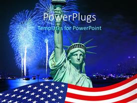 Beautiful PPT layouts with the statue of liberty with a lot of fireworks in the background