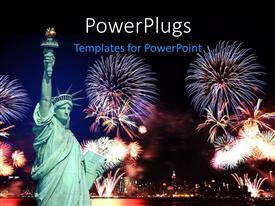 PPT theme featuring statue of Liberty in New york  and 4th of July fireworks
