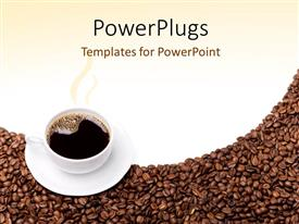 Amazing slide deck consisting of steaming cup of coffee and saucer on brown grains