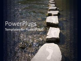 Presentation design enhanced with stepping stones with footprints over river background framed with gradient dark panels