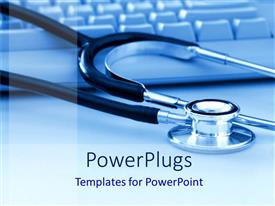 Elegant PPT layouts enhanced with a stethoscope being placed over a keyboard with blue background