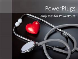Amazing slide set consisting of stethoscope & red heart over a black background