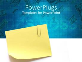 Beautiful slide deck with sticky note with clip in blue background written business