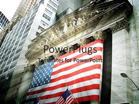 Presentation theme with stock exchange depiction with American flag on wall street