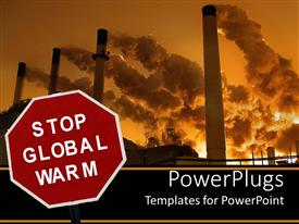Colorful PPT theme having stop global warm sign with smokestacks polluting sky