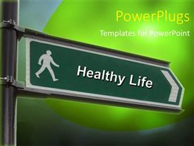 5000 healthy lifestyle powerpoint templates w healthy lifestyle presentation theme with street sign with a healthy life keyword over green background toneelgroepblik Images