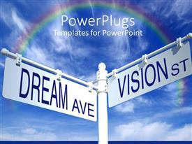 PPT layouts with street sign post with dream ave and vision st rainbow on blue sky