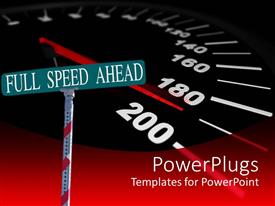 Presentation theme with street sign reading 'Full speed ahead' with a background of a speedometer approaching 200mph