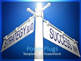 Amazing PPT layouts consisting of street signs strategy and success two directions pointing blue skies