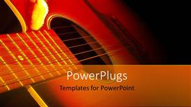 Elegant presentation theme enhanced with strings of guitar lying side ways in the dark