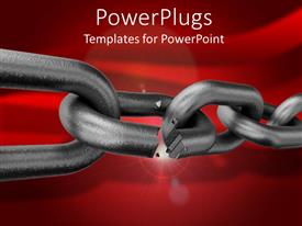 Audience pleasing PPT layouts featuring strong metallic chain broken on a red colored background