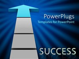 PPT layouts consisting of success metaphor with arrow pointing up, blue sunburst background