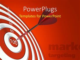 Target vs achievement powerpoint templates w target vs achievement ppt theme consisting of an arrow hitting the bulls eye with reddish background template size toneelgroepblik Gallery