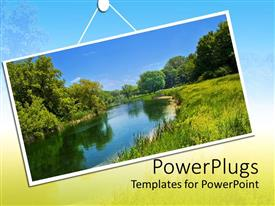 PPT theme consisting of summer landscape hanging on background with faded vegetation and blue sky