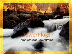 Elegant presentation theme enhanced with sun rise view of a river flowing down rocks