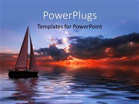 Elegant PPT theme enhanced with sun set view of a boat on an open sea