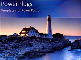 PPT theme featuring a sun set view of a light house on a rocky shore